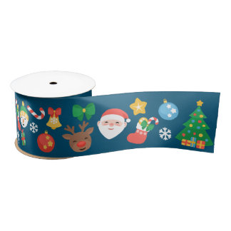 Cheerful Christmas Pattern on Blue Satin Ribbon