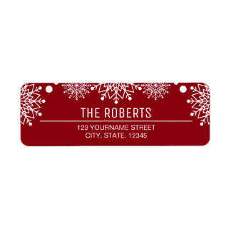 Cheerful Christmas | Red and White Snowflakes Return Address Label