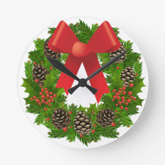 Cheerful Christmas Wreath Wallclocks