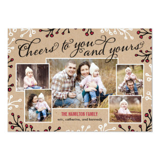 Cheerful Collage Holiday Photo Card 13 Cm X 18 Cm Invitation Card