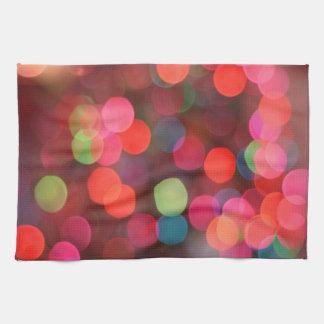 Cheerful Colorful Bokeh Christmas Holiday Lights Tea Towel