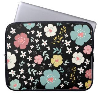 Cheerful Colorful Cute Flowers Pattern Laptop Sleeve