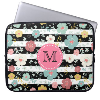Cheerful Colorful Cute Flowers & Stripes Pattern Laptop Sleeve