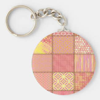 Cheerful colorful cute patchwork basic round button key ring