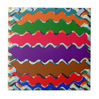 Cheerful Colorful Wave Pattern Small Square Tile