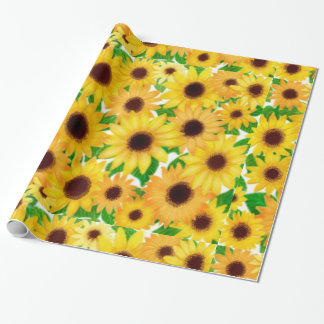 Cheerful European Sunflowers Wrapping Paper