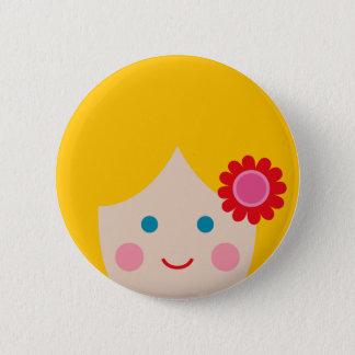 cheerful face 1 6 cm round badge
