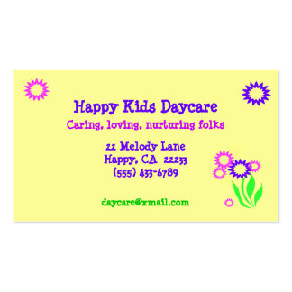 Cheerful Flowers Daycare Card Pack Of Standard Business Cards