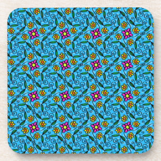 Cheerful Flowers on Blue Beverage Coaster