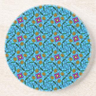 Cheerful Flowers on Blue Coaster