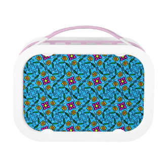 Cheerful Flowers on Blue Lunch Box