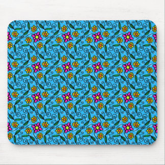 Cheerful Flowers on Blue Mouse Pad