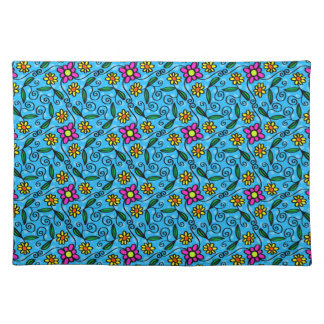 Cheerful Flowers on Blue Placemat