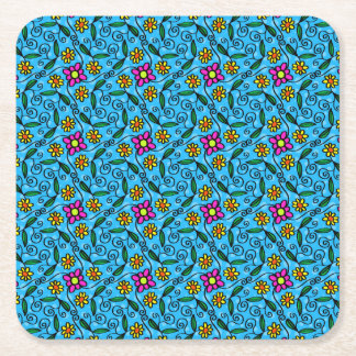 Cheerful Flowers on Blue Square Paper Coaster