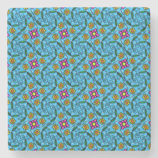 Cheerful Flowers on Blue Stone Coaster