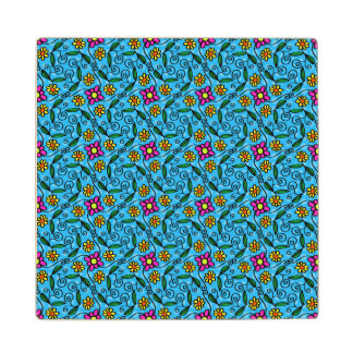 Cheerful Flowers on Blue Wood Coaster