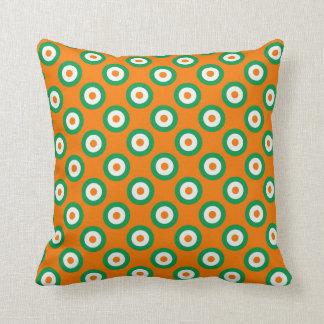 Cheerful Green/White/Orange Dots on Orange/White Cushion