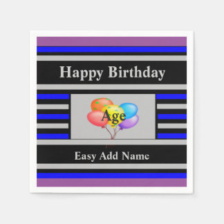 Cheerful Happy Birthday Ballons Paper Serviettes