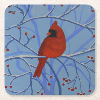 Cheerful heart Cardinal Square Paper Coaster