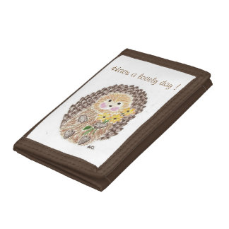 Cheerful hedgehog kid wallet