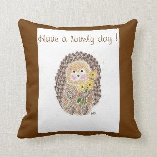 Cheerful hedgehog throw pillow