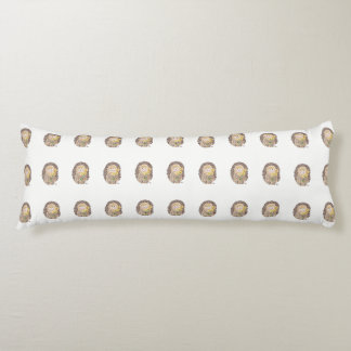 Cheerful hedgehogs pattern white body pillow