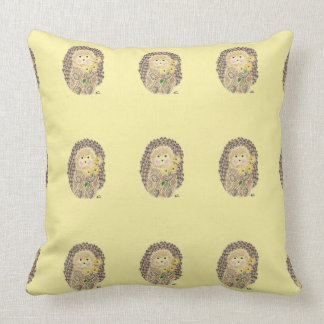 Cheerful hedgehogs (pattern) yellow throw pillow