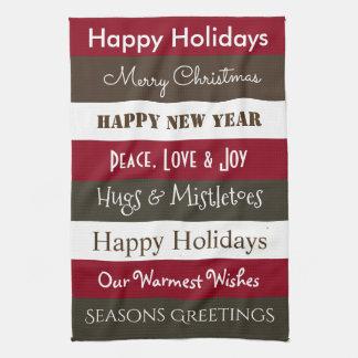 Cheerful Holiday Greetings Kitchen Tea Towel