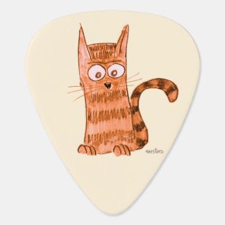 Cheerful kitten watching something we can't see guitar pick