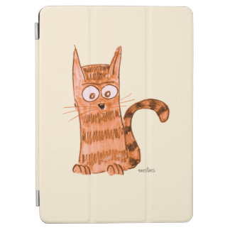 Cheerful kitten watching something we can't see iPad air cover