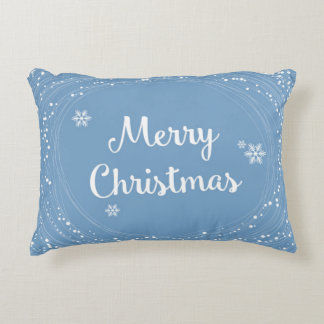 Cheerful Merry Christmas Snow Stars Blue White Accent Cushion