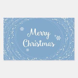 Cheerful Merry Christmas Snow Stars Blue White Rectangular Sticker
