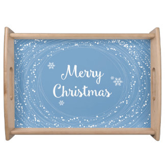 Cheerful Merry Christmas Snow Stars Blue White Serving Tray