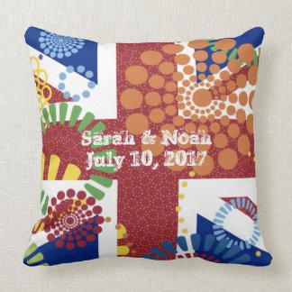 Cheerful Monogram Anniversary Union Jack Wedding Throw Pillow