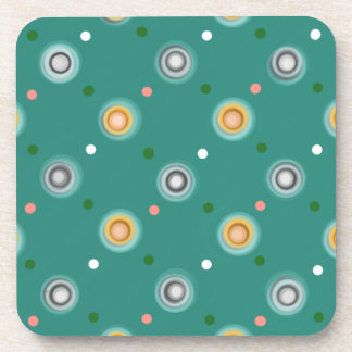 Cheerful Orange and Teal Green Polka Dotted Beverage Coaster