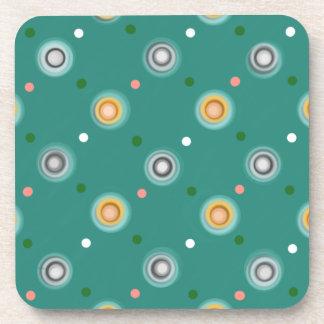 Cheerful Orange and Teal Green Polka Dotted Coaster