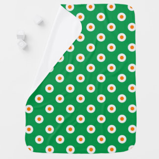 Cheerful Orange Dots on Green Baby Blanket