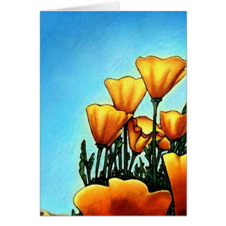 Cheerful Orange Poppy Flowers THANK YOU Card