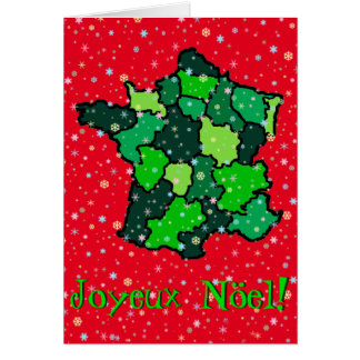 Cheerful Pastel Snowflakes and Map of France Greeting Card