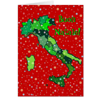 Cheerful Pastel Snowflakes and Map of Italy Greeting Card