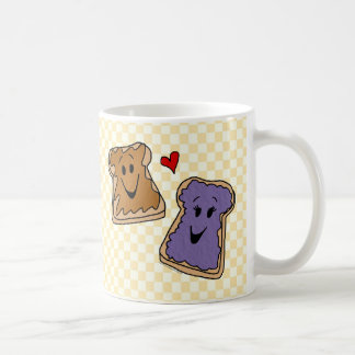 Cheerful Peanut Butter and Jelly Cartoon Friends Mug
