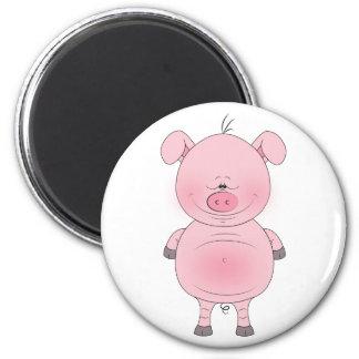 Cheerful Pink Pig Cartoon 6 Cm Round Magnet