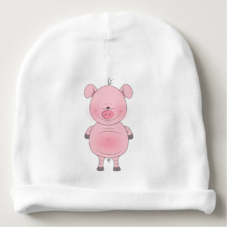 Cheerful Pink Pig Cartoon Baby Beanie