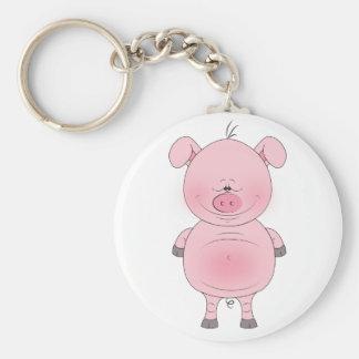 Cheerful Pink Pig Cartoon Basic Round Button Key Ring