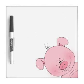 Cheerful Pink Pig Cartoon Dry Erase Board