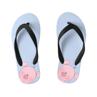 Cheerful Pink Pig Cartoon Kid's Thongs