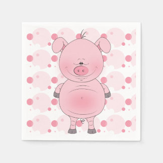 Cheerful Pink Pig Cartoon Paper Napkin