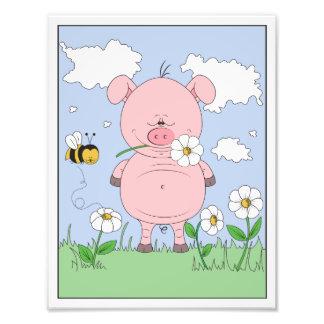 Cheerful Pink Pig Cartoon Photo