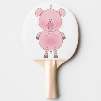 Cheerful Pink Pig Cartoon Ping Pong Paddle