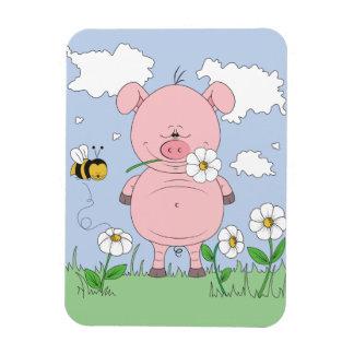 Cheerful Pink Pig Cartoon Rectangular Photo Magnet